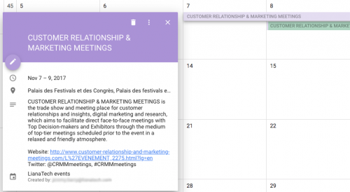 Event marketing calendar Liana Technologies