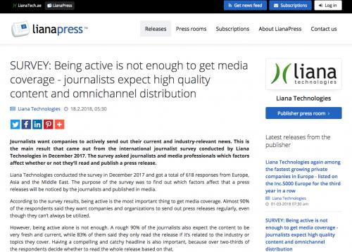 Press release by Liana Press