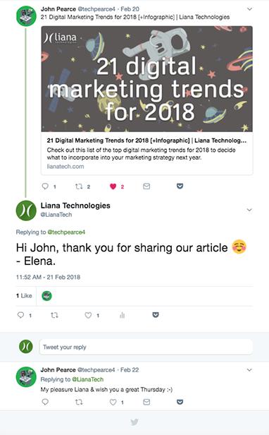 Social media mention Liana Technologies