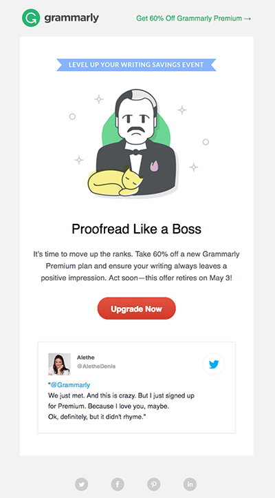 Promotional newsletter by grammarly: 60% off Grammarly Premium Plan