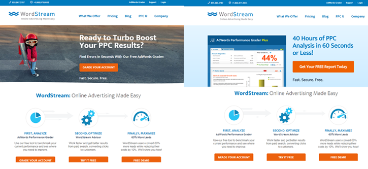 AB testing on the WordStream main webpage, testing different versions of the header