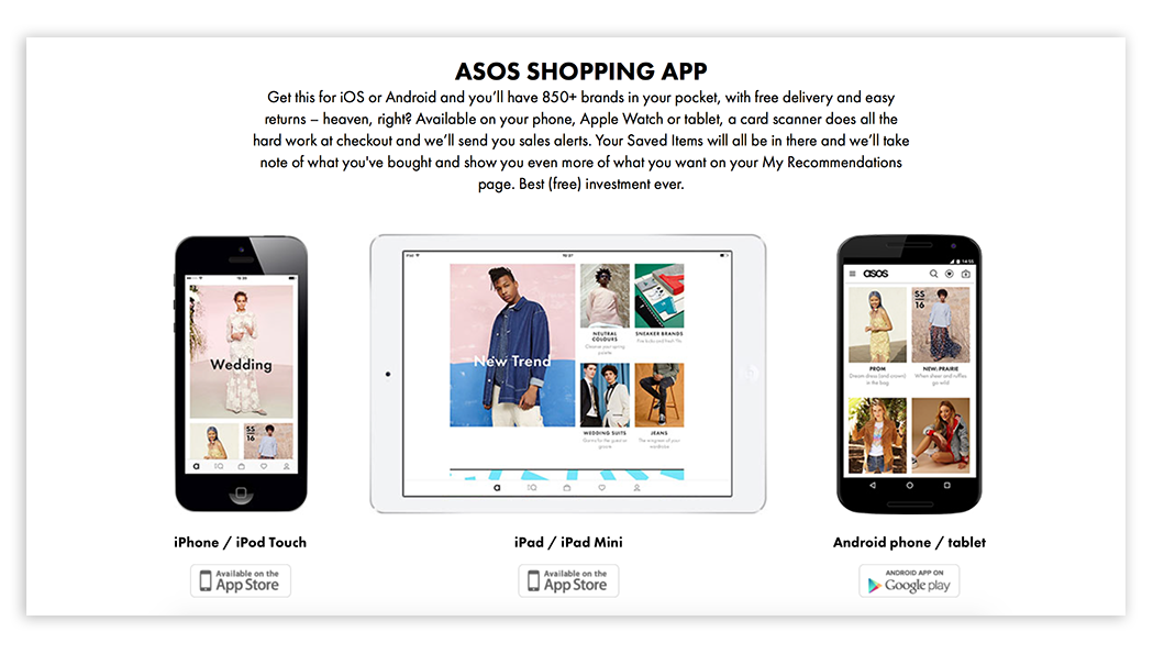 Iphone, Ipad and Android apps by Asos