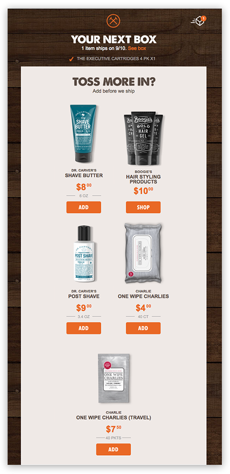 an upselling email offering complementary products