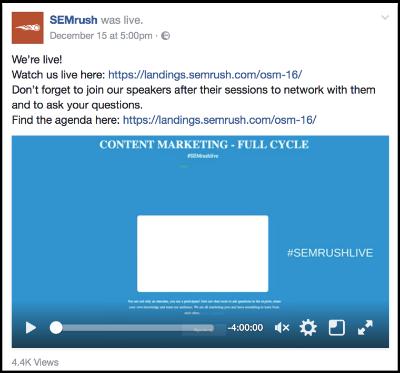 SemRush Facebook Live