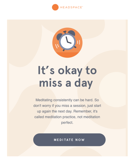 personalized email sent by Headspace based on customer's history