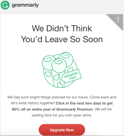 Miss you note from Grammarly