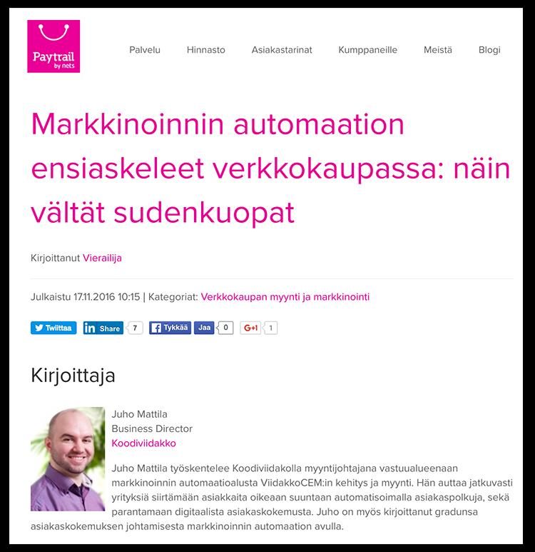 """Juho Mattila kirjoitti Paytrailille """"Markkinoinnin automaation ensiaskeleet"""" -vierasbloggauksen."""