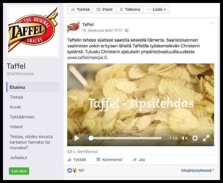 Taffelin Facebook-julkaisu ohjaa katsojan Taffelin sivuille.