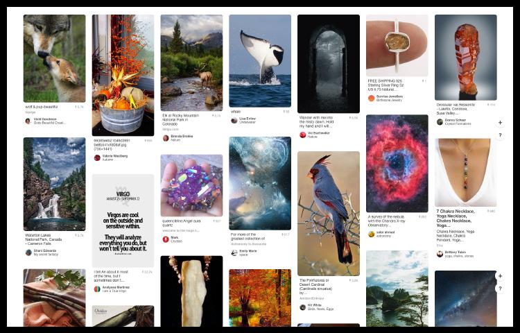 Pinterest näyttää erilaisia kuvakortteja.