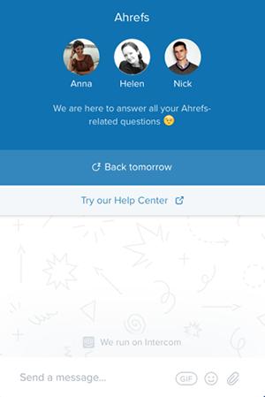 Ahrefs hyödyntää live chattia omilla verkkosivuillaan