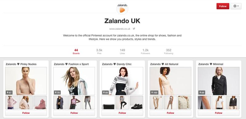 Zalando on aktiivinen Pinterestissä
